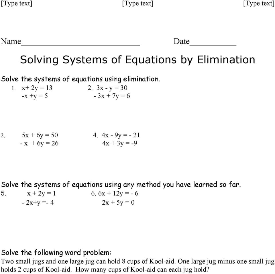 4x - 9y = - 21 - x + 6y = 26 4x + 3y = -9 Solve the systems of equations using any method you have learned so far. 5. x + 2y = 1 6.
