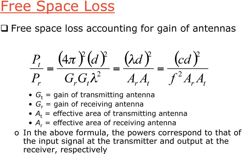 = A G t = gain of transmitting antenna G r = gain of receiving antenna A t = effective area of