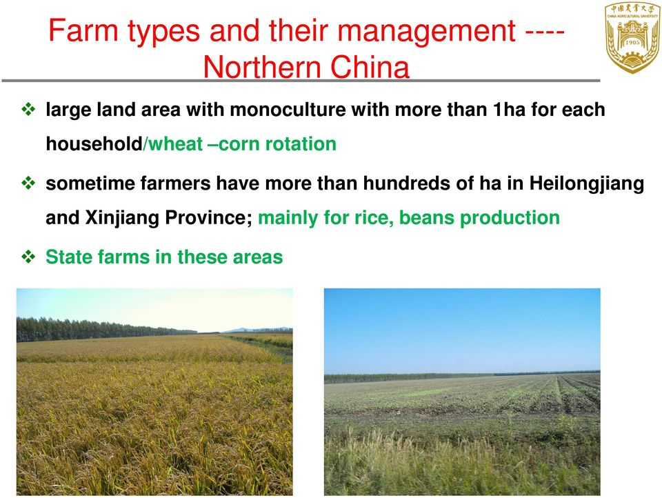 sometime farmers have more than hundreds of ha in Heilongjiang and