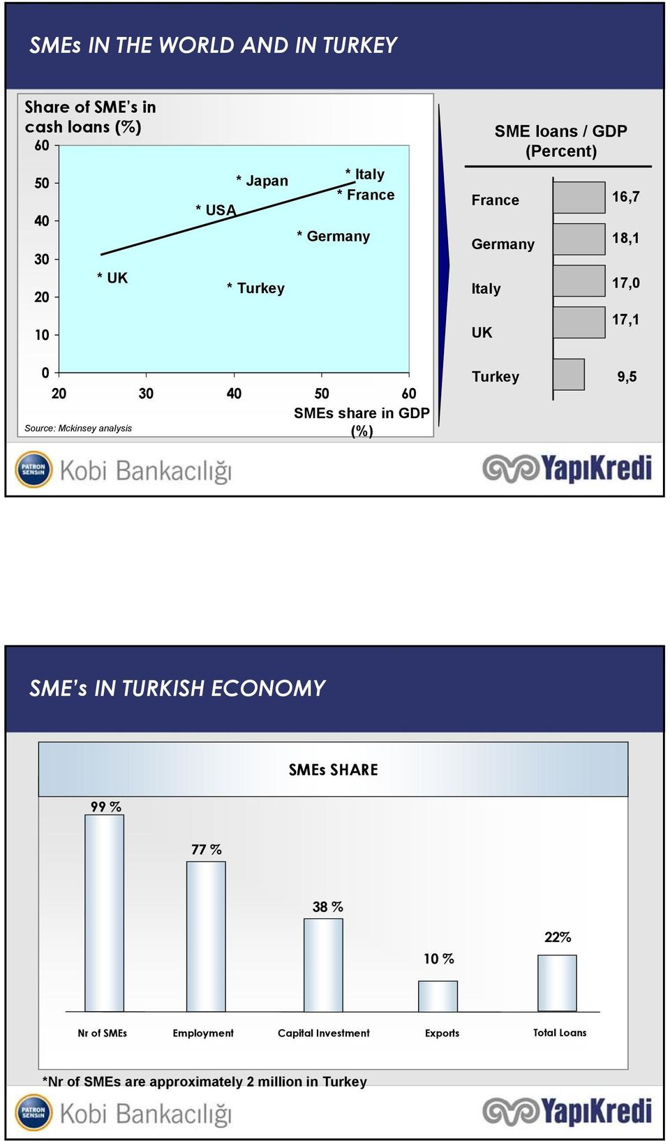 SMEs share in GDP (%) Source: Mckinsey analysis Turkey 9,5 SME s IN TURKISH ECONOMY SMEs SHARE 99 % 77 % 38 % 10