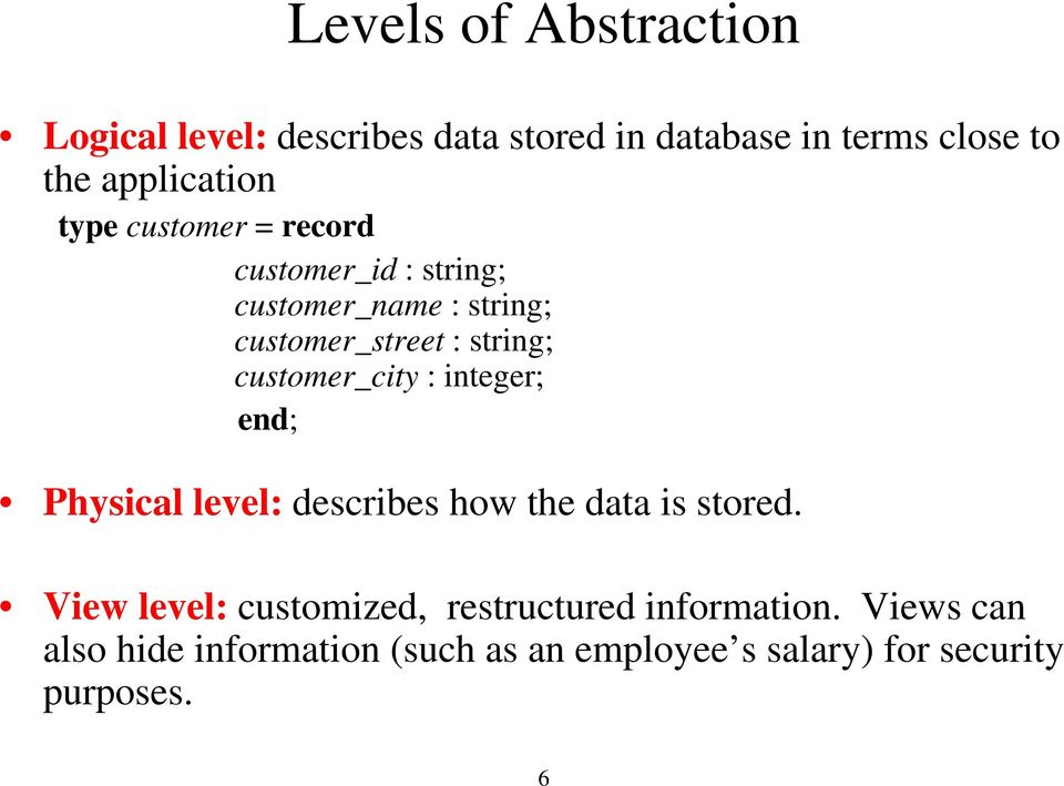 customer_city : integer; end; Physical level: describes how the data is stored.