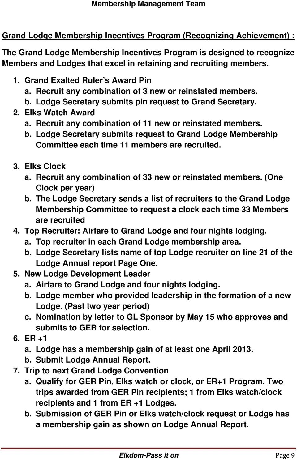 Recruit any combination of 11 new or reinstated members. b. Lodge Secretary submits request to Grand Lodge Membership Committee each time 11 members are recruited. 3. Elks Clock a.