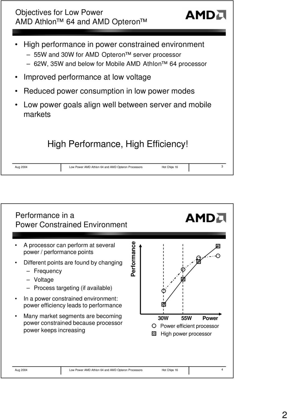 Aug 2004 Low Power AMD Athlon 64 and AMD Opteron Processors Hot Chips 16 3 Performance in a Power Constrained Environment A processor can perform at several power / performance points Different