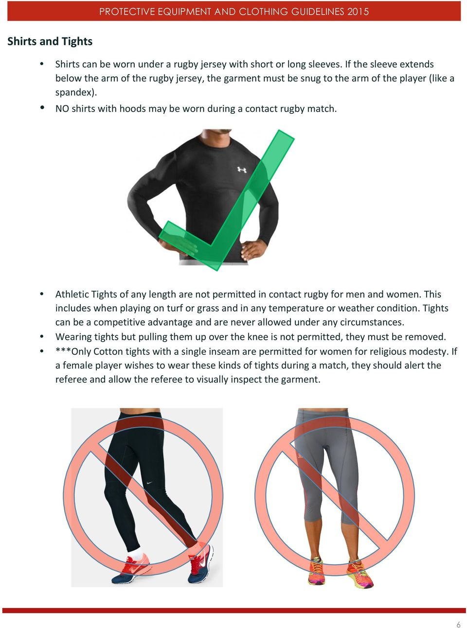 Athletic Tights of any length are not permitted in contact rugby for men and women. This includes when playing on turf or grass and in any temperature or weather condition.