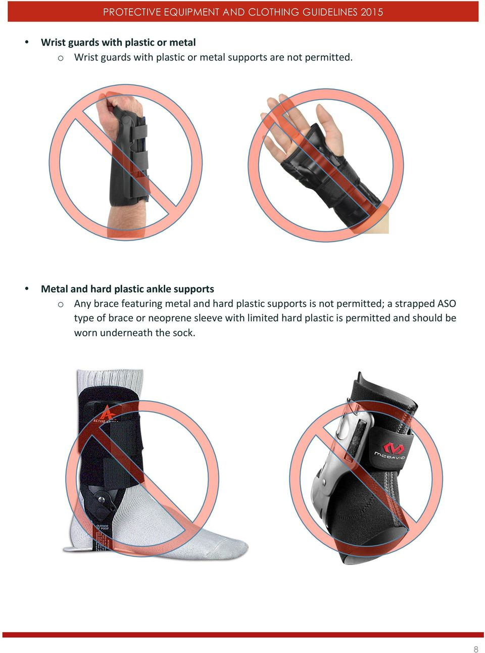 Metal and hard plastic ankle supports o Any brace featuring metal and hard plastic