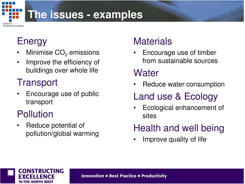 pollution/global warming Materials Encourage use of timber from sustainable sources Water Reduce