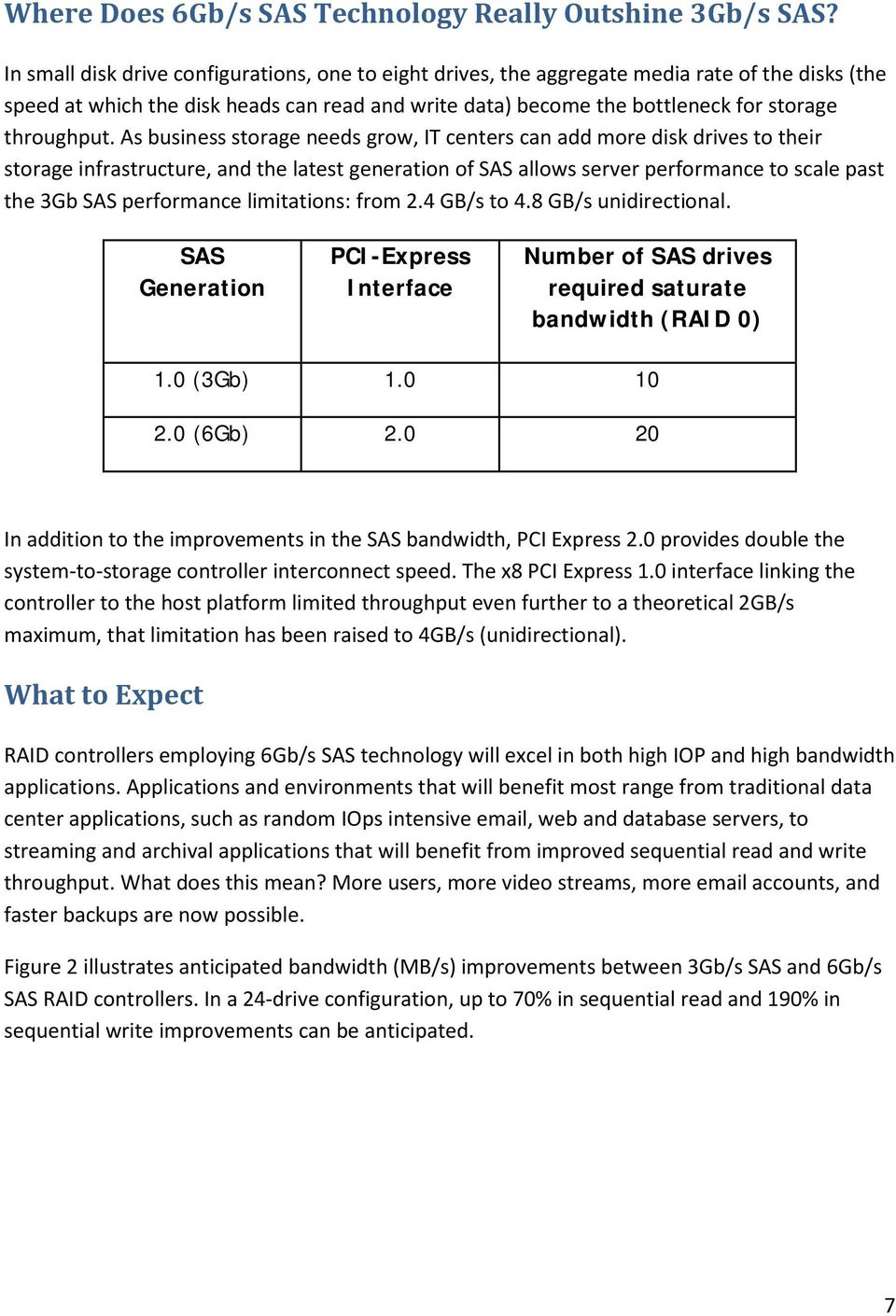 As business storage needs grow, IT centers can add more disk drives to their storage infrastructure, and the latest generation of SAS allows server performance to scale past the 3Gb SAS performance