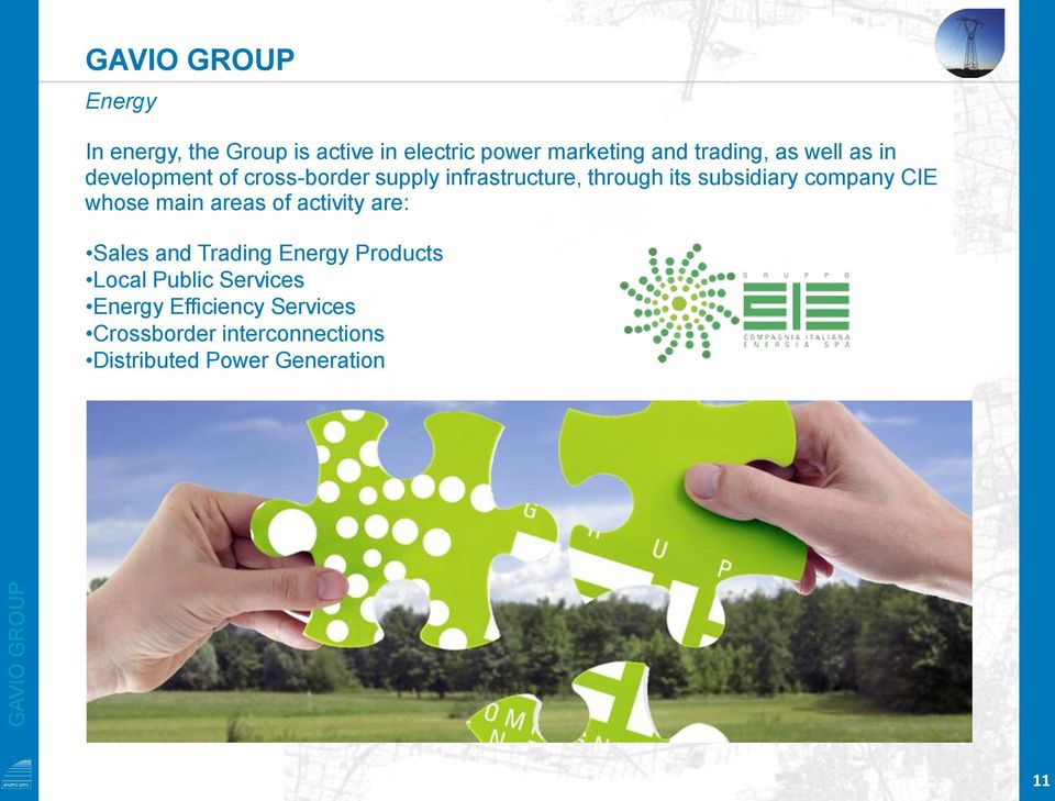 company CIE whose main areas of activity are: Sales and Trading Energy Products Local