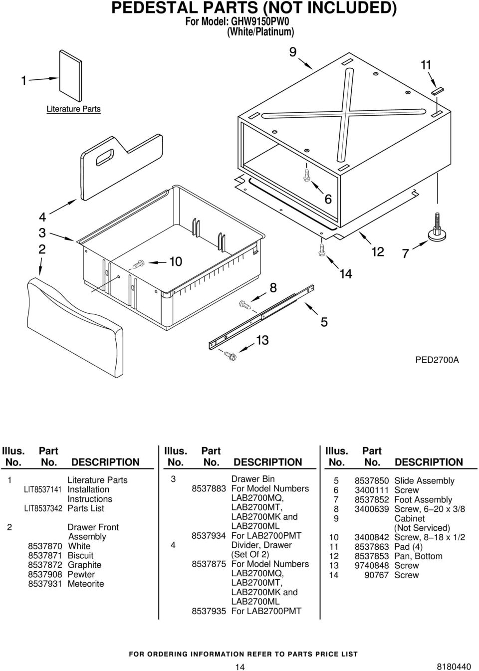 Divider, Drawer (Set Of 2) 8537875 For Model Numbers LAB2700MQ, LAB2700MT, LAB2700MK and LAB2700ML 8537935 For LAB2700PMT 5 8537850 Slide Assembly 6 3400111 Screw 7