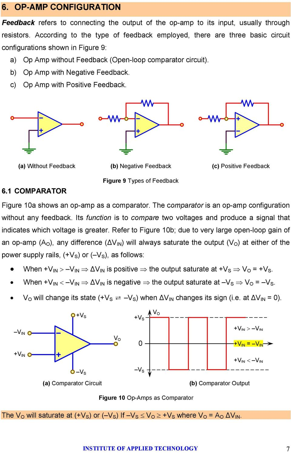 c) Op Amp with Positive Feedback. (a) Without Feedback (b) Negative Feedback (c) Positive Feedback 6.1 COMPARATOR Figure 9 Types of Feedback Figure 10a shows an opamp as a comparator.