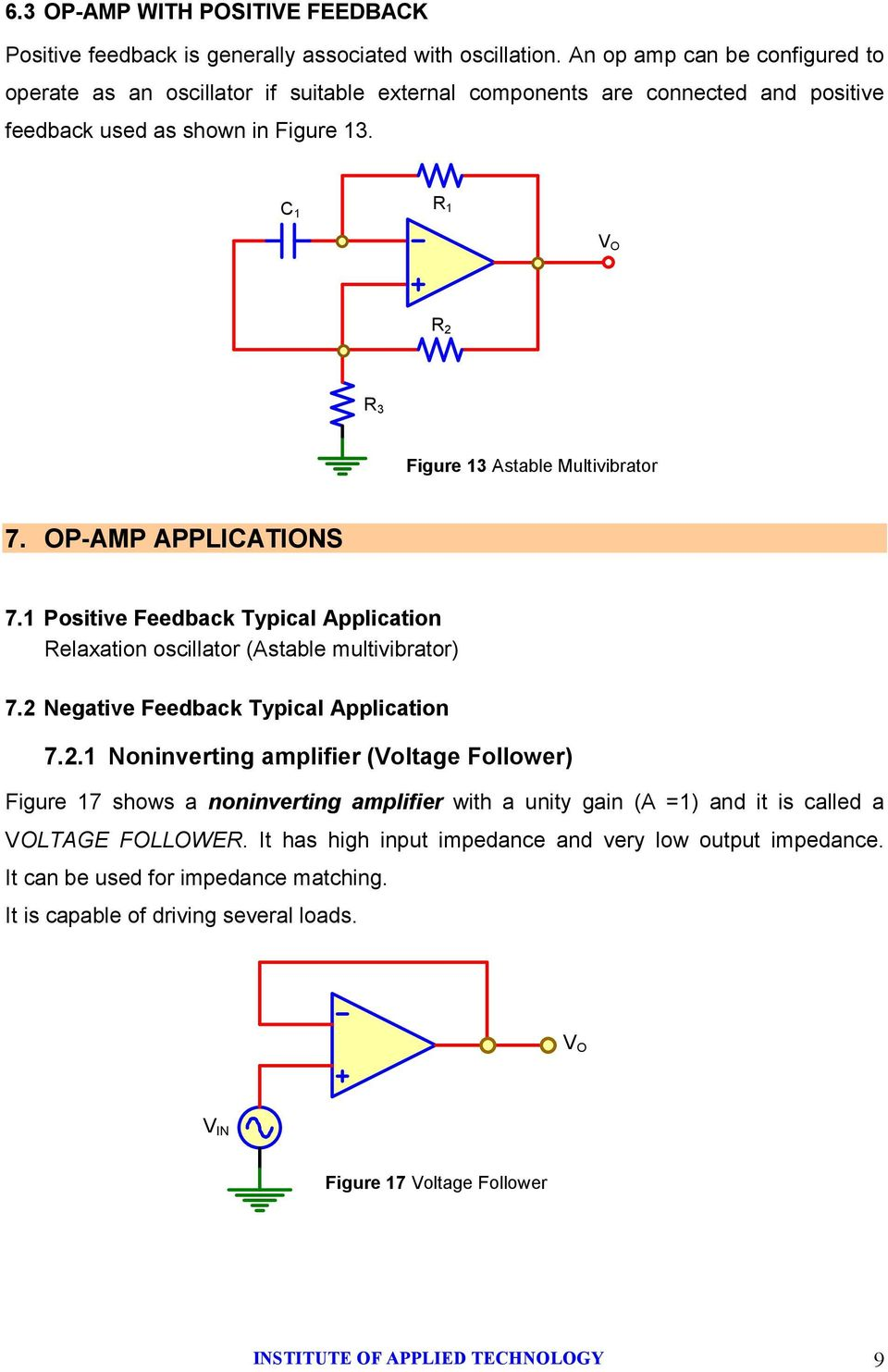 C 1 R 1 R 2 R 3 Figure 13 Astable Multivibrator 7. OPAMP APPLICATIONS 7.1 Positive Feedback Typical Application Relaxation oscillator (Astable multivibrator) 7.