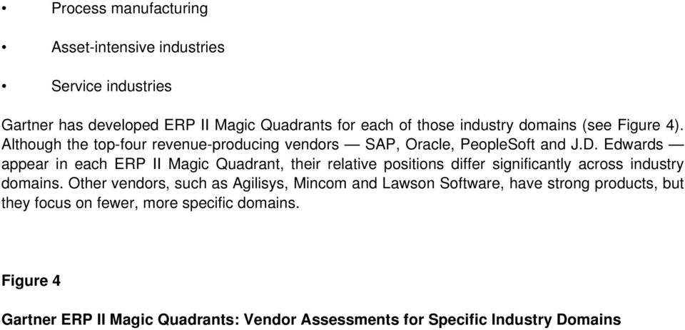 Edwards appear in each ERP II Magic Quadrant, their relative positions differ significantly across industry domains.
