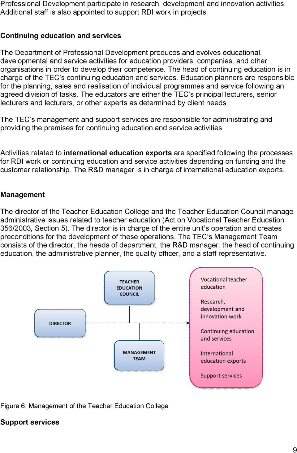 organisations in order to develop their competence. The head of continuing education is in charge of the TEC s continuing education and services.