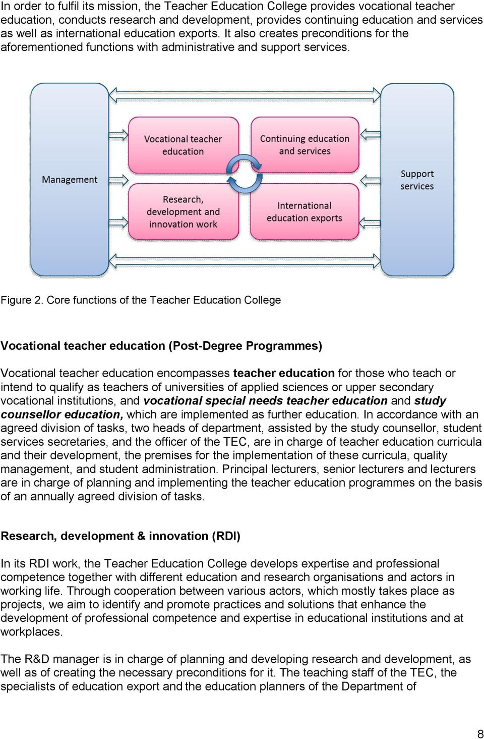 Core functions of the Teacher Education College Vocational teacher education (Post-Degree Programmes) Vocational teacher education encompasses teacher education for those who teach or intend to