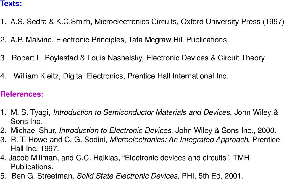 Tyagi, Introduction to Semiconductor Materials and Devices, John Wiley & Sons Inc. 2. Michael Shur, Introduction to Electronic Devices, John Wiley & Sons Inc., 2000. 3. R. T. Howe and C. G.
