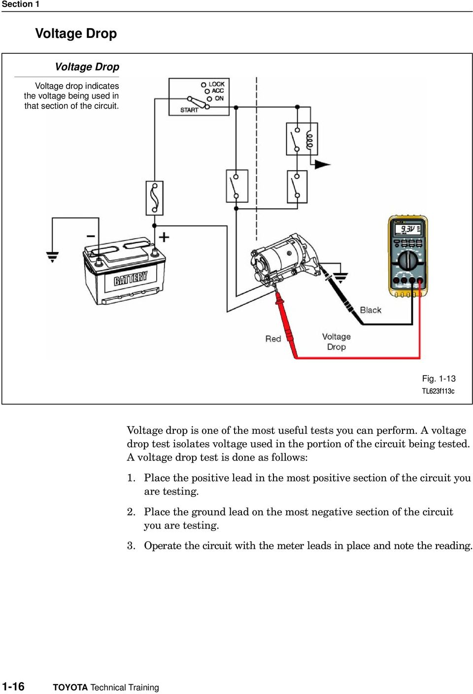 A voltage drop test isolates voltage used in the portion of the circuit being tested. A voltage drop test is done as follows: 1.