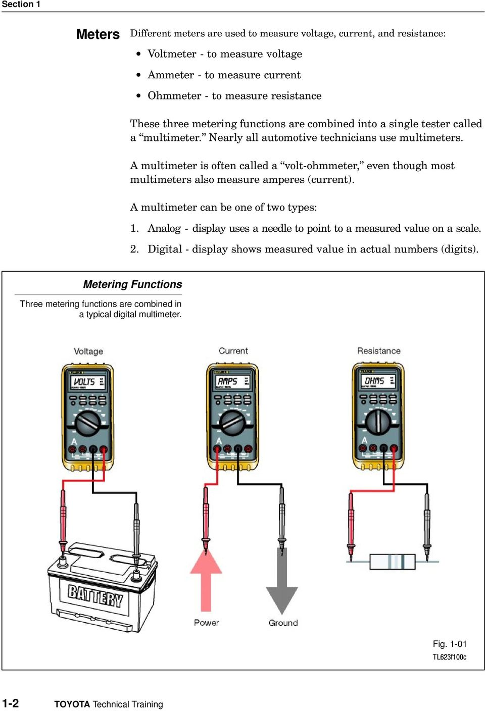 "A multimeter is often called a voltohmmeter,"" even though most multimeters also measure amperes (current). A multimeter can be one of two types: 1."