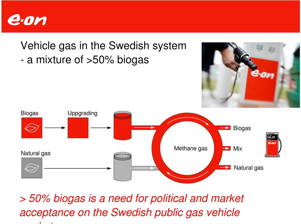 Mix Natural gas > 50% biogas is a need for political and