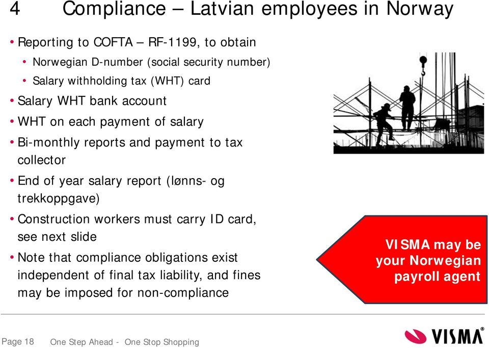 of year salary report (lønns- og trekkoppgave) Construction workers must carry ID card, see next slide Note that compliance