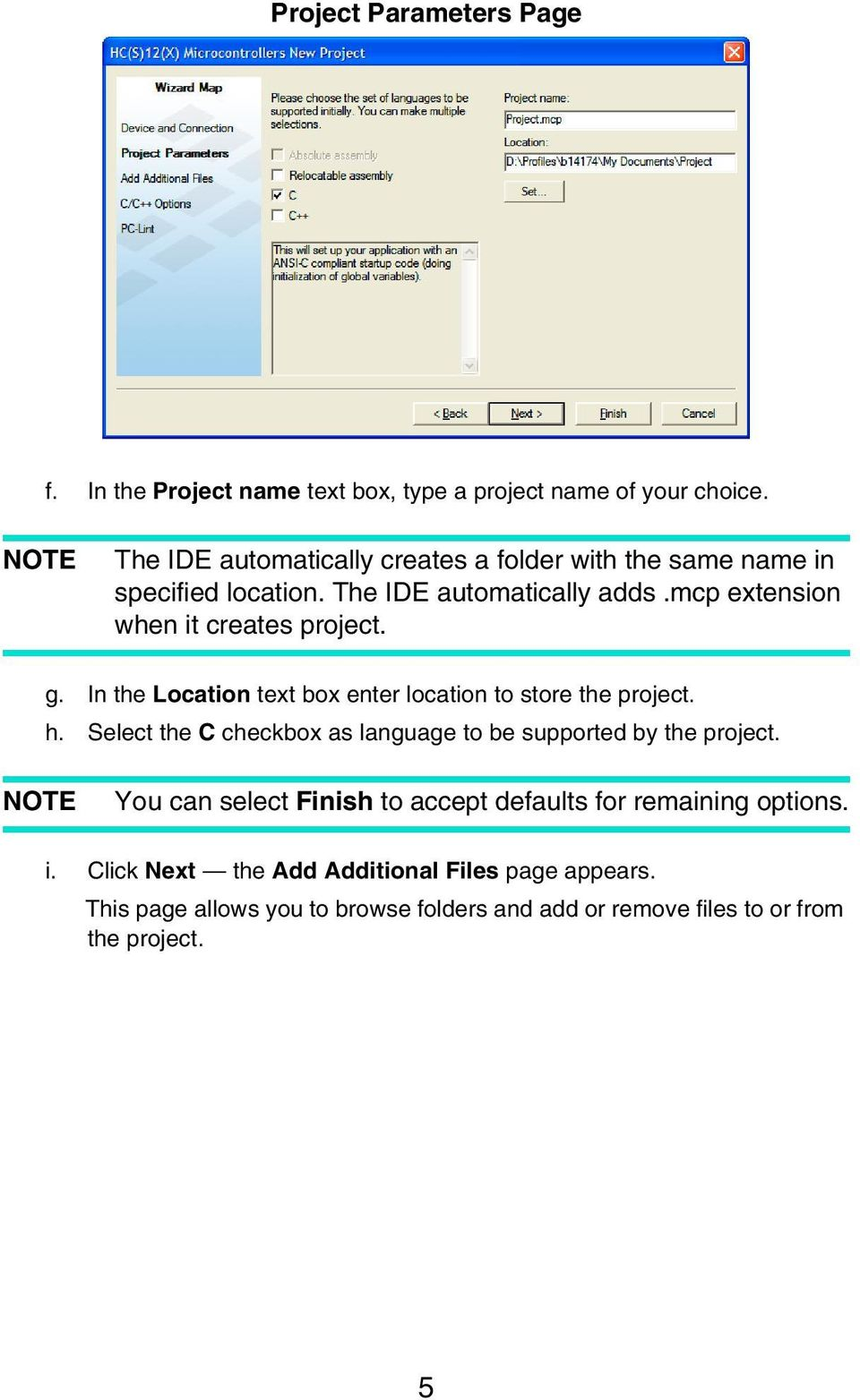 mcp extension when it creates project. g. In the Location text box enter location to store the project. h.