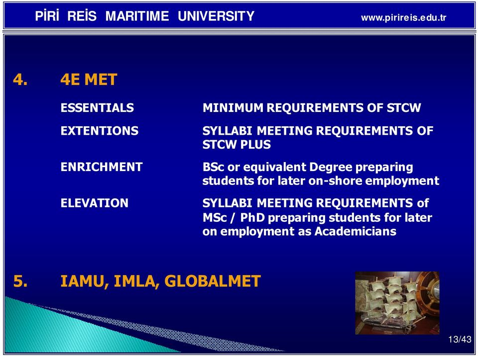 students for later on-shore employment SYLLABI MEETING REQUIREMENTS of MSc / PhD