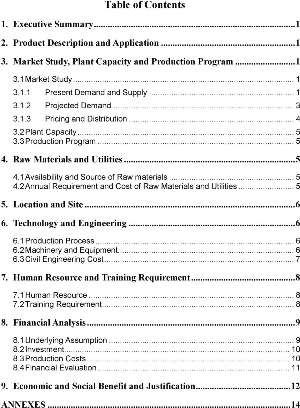 .. 5 4.2 Annual Requirement and Cost of Raw Materials and Utilities... 5 5. Location and Site...6 6. Technology and Engineering...6 6.1 Production Process... 6 6.2 Machinery and Equipment... 6 6.3 Civil Engineering Cost.