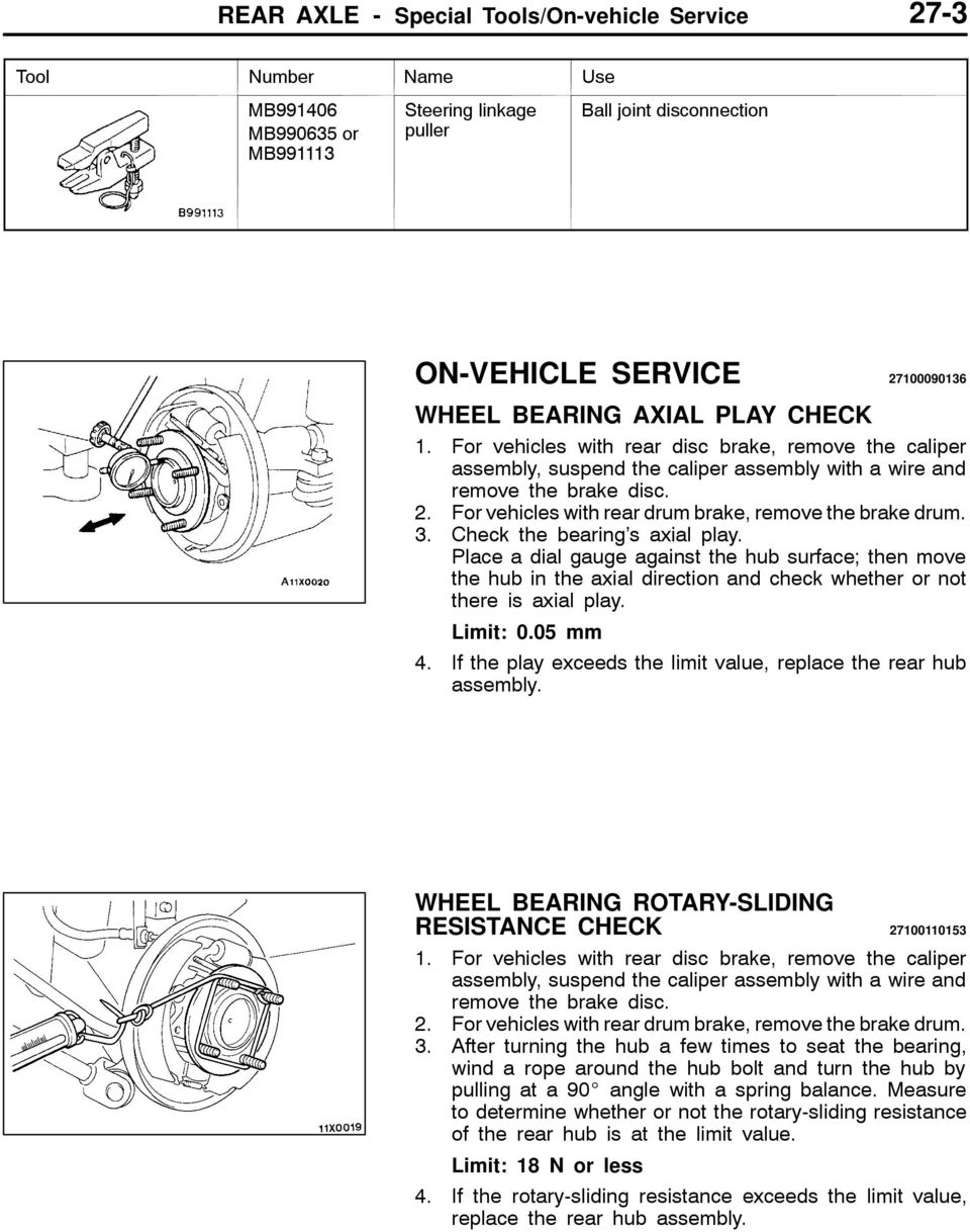 For vehicles with rear drum brake, remove the brake drum. 3. Check the bearing s axial play.