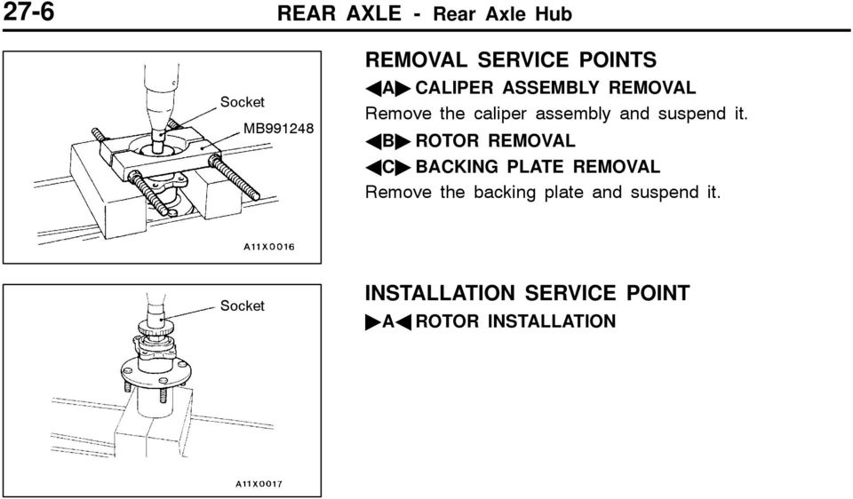 "it. AB"" ROTOR REMOVAL AC"" BACKING PLATE REMOVAL Remove the backing"