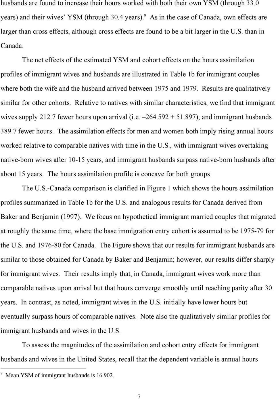 The net effects of the estimated YSM and cohort effects on the hours assimilation profiles of immigrant wives and husbands are illustrated in Table 1b for immigrant couples where both the wife and