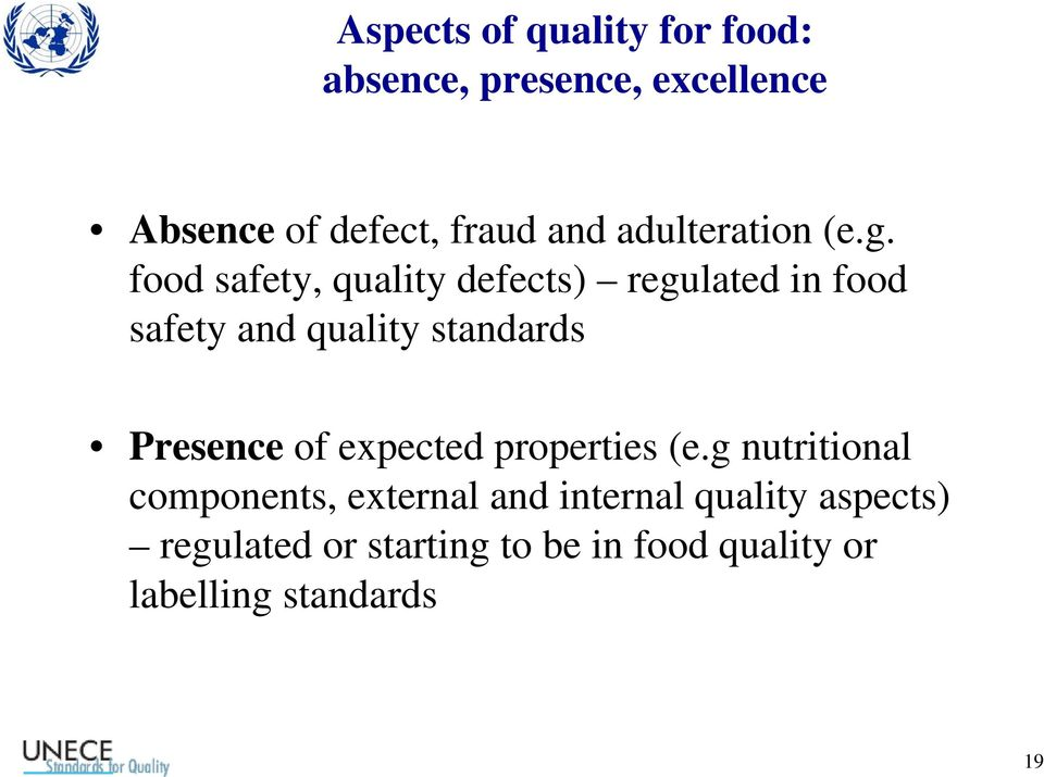 food safety, quality defects) regulated in food safety and quality standards Presence of