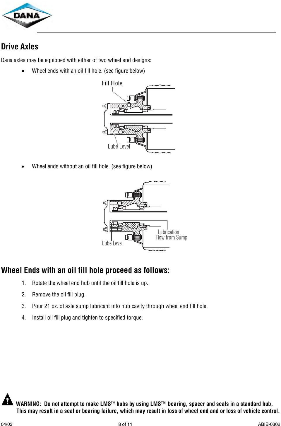 (see figure below) Wheel Ends with an oil fill hole proceed as follows: 1.