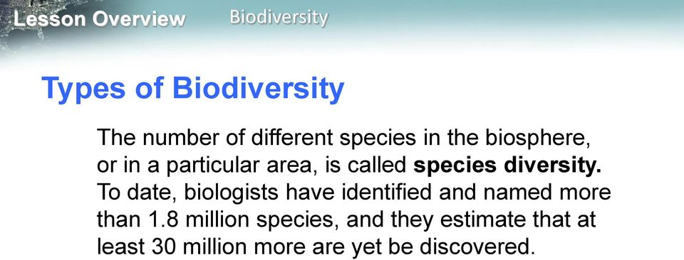 To date, biologists have identified and named more than 1.