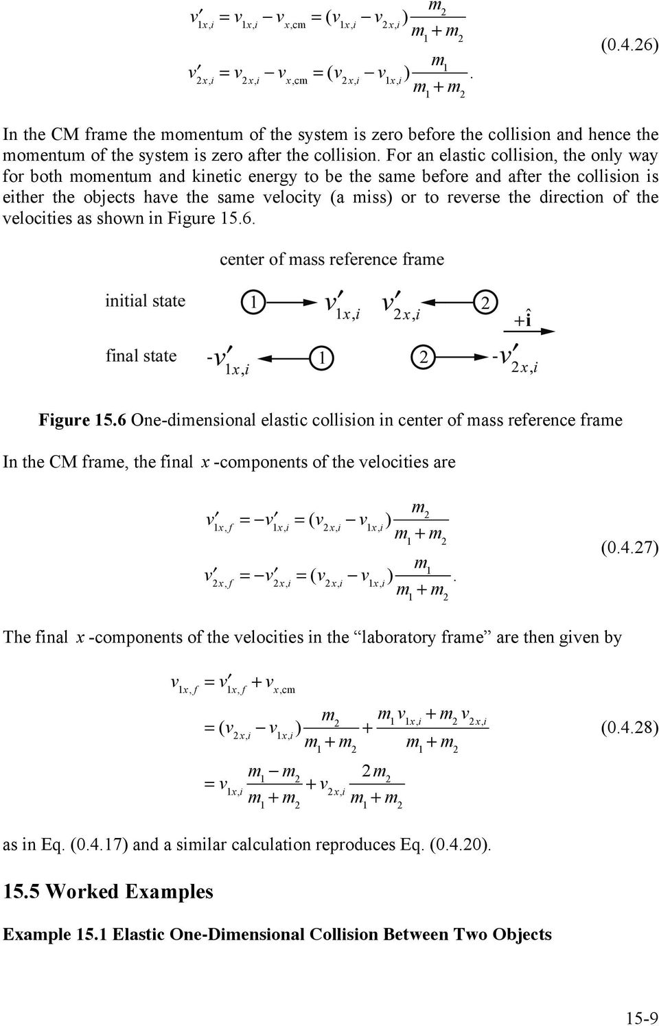 miss) or to reverse the direction of the velocities as shown in Figure 156 Figure 156 One-dimensional elastic collision in center of mass reference frame In the CM frame, the final x -components of