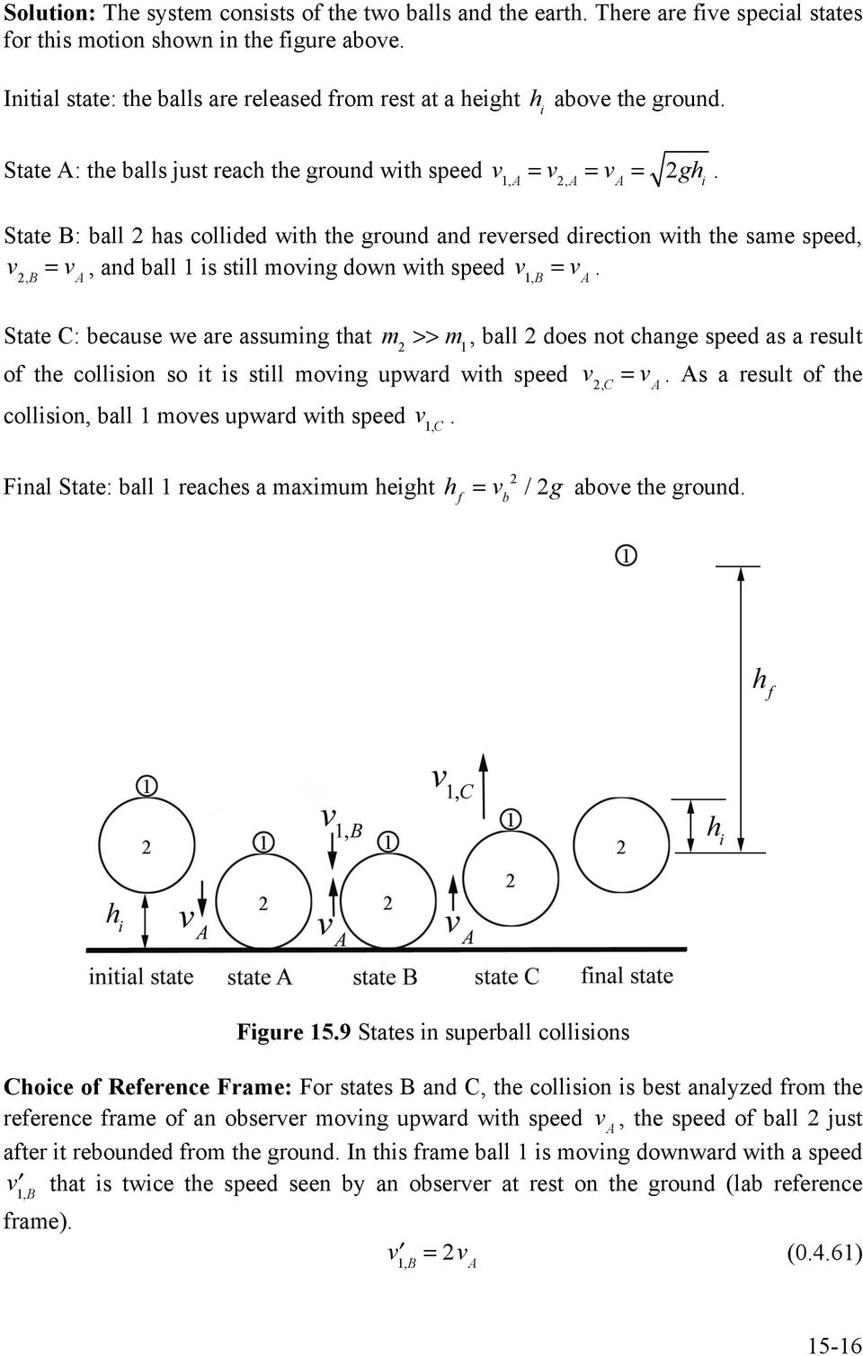 ball 1 is still moving down with speed v 1,B = v A State C: because we are assuming that m >>, ball does not change speed as a result of the collision so it is still moving upward with speed v,c = v