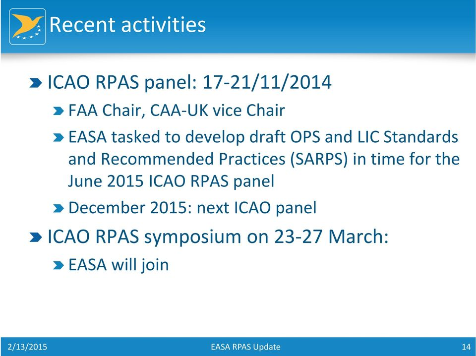 Practices (SARPS) in time for the June 2015 ICAO RPAS panel December