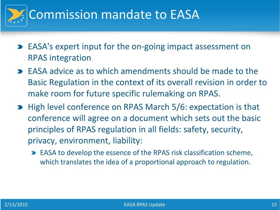 High level conference on RPAS March 5/6: expectation is that conference will agree on a document which sets out the basic principles of RPAS regulation in all