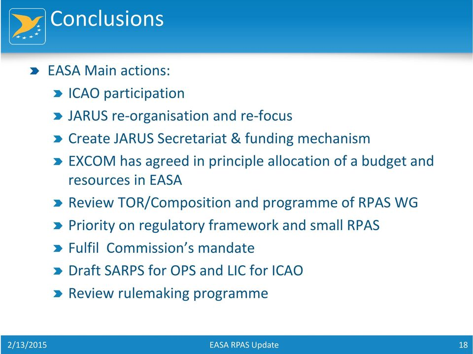 in EASA Review TOR/Composition and programme of RPAS WG Priority on regulatory framework and small
