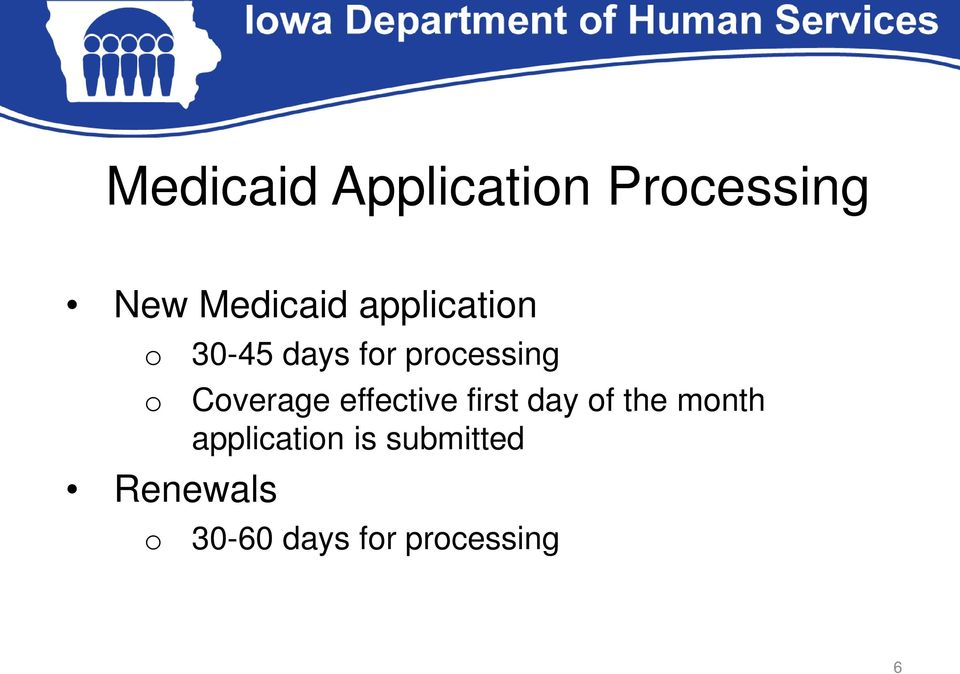 processing Coverage effective first day of the