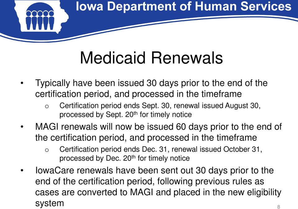 20 th for timely notice MAGI renewals will now be issued 60 days prior to the end of the certification period, and processed in the timeframe o Certification