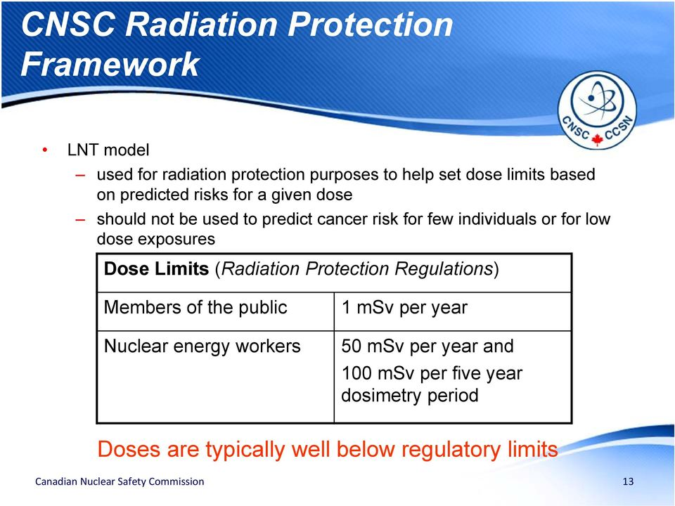low dose exposures Dose Limits (Radiation Protection Regulations) Members of the public Nuclear energy workers 1