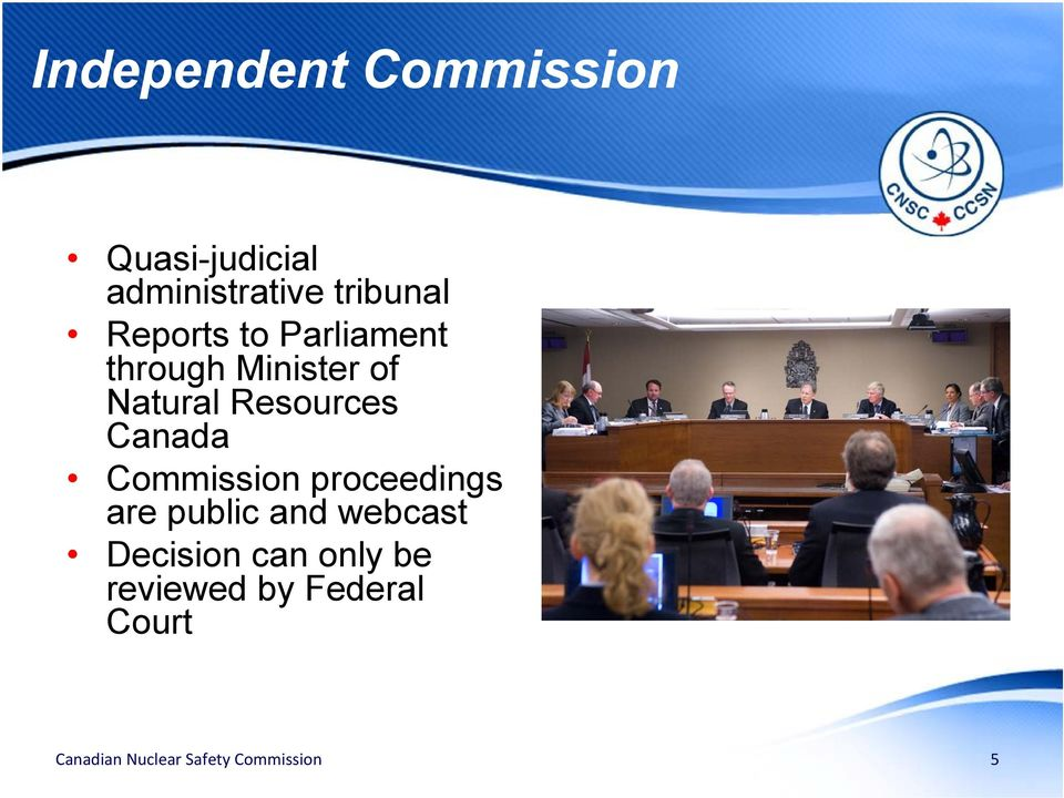 Natural Resources Canada Commission proceedings are