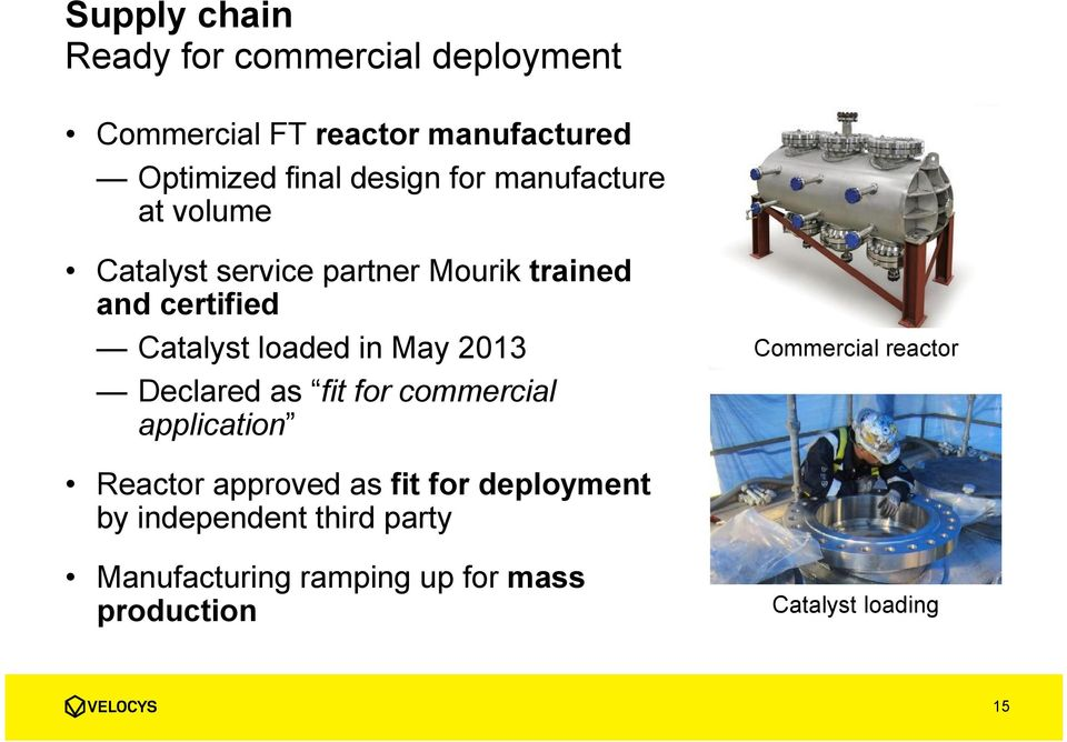 loaded in May 2013 Declared as fit for commercial application Commercial reactor Reactor approved as