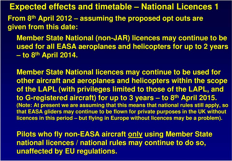Member State National licences may continue to be used for other aircraft and aeroplanes and helicopters within the scope of the LAPL (with privileges limited to those of the LAPL, and to
