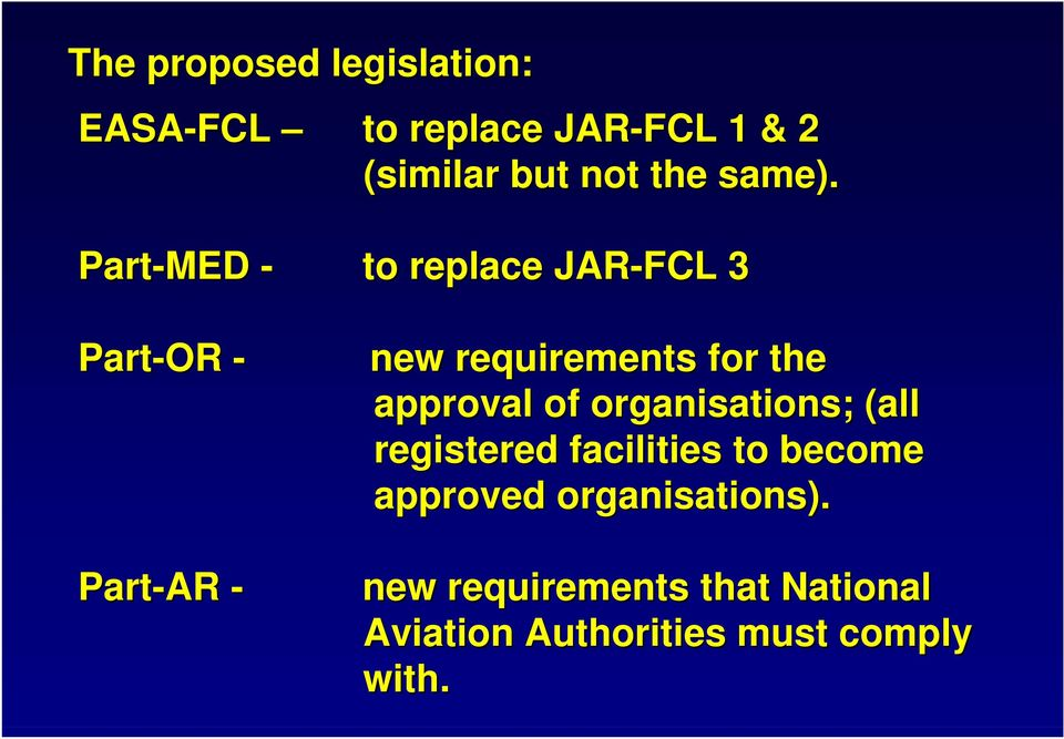 Part-MED - Part-OR - Part-AR - to replace JAR-FCL 3 new requirements for the