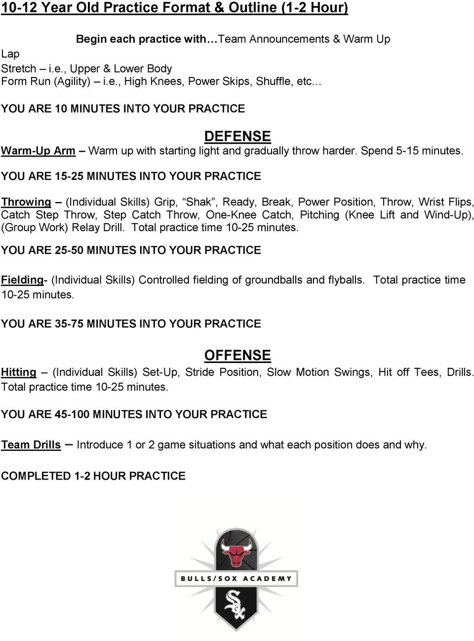YOU ARE 15-25 MINUTES INTO YOUR PRACTICE Throwing (Individual Skills) Grip, Shak, Ready, Break, Power Position, Throw, Wrist Flips, Catch Step Throw, Step Catch Throw, One-Knee Catch, Pitching (Knee
