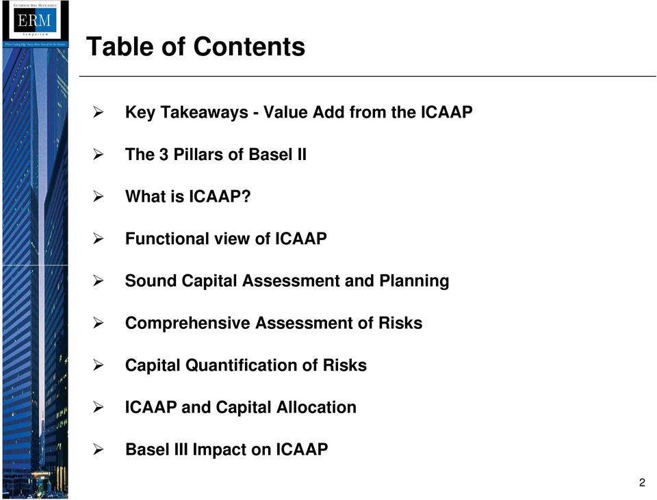 Functional view of ICAAP Sound Capital Assessment and Planning