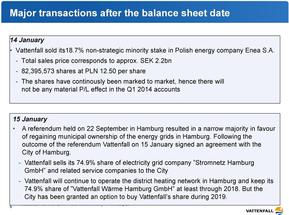 50 per share - The shares have continously been marked to market, hence there will not be any material P/L effect in the Q1 2014 accounts 5 15 January A referendum held on 22 September in Hamburg