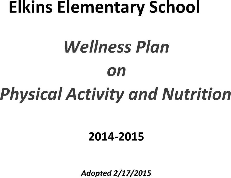 Activity and Nutrition
