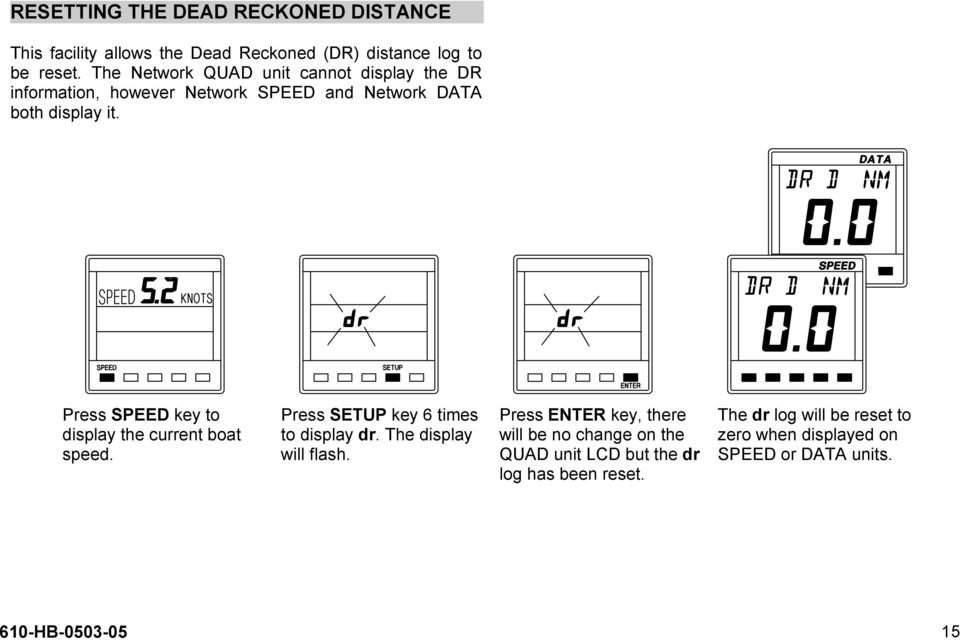 Press SPEED key to display the current boat speed. Press SETUP key 6 times to display dr. The display will flash.