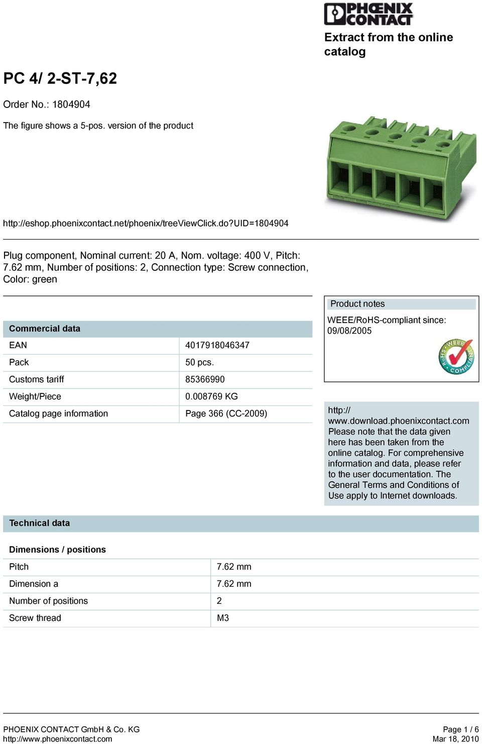 008769 KG Catalog page information Page 366 (CC-2009) Product notes WEEE/RoHS-compliant since: 09/08/2005 http:// www.download.phoenixcontact.